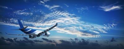 Straal vliegtuigen in een hemel bij dageraad Royalty-vrije Stock Foto's