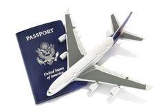 Straal vliegtuigen met paspoort Stock Afbeeldingen