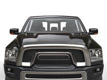 Straal zwarte moderne oogstvrachtwagen - het schot van de vooraanzichtclose-up royalty-vrije illustratie