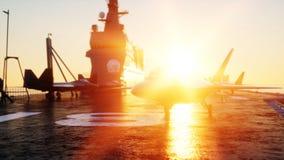 Straalf22, vechter op vliegdekschip in overzees, oceaan Oorlog en wapenconcept het 3d teruggeven vector illustratie