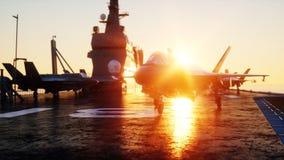 Straalf35, vechter op vliegdekschip in overzees, oceaan Oorlog en wapenconcept het 3d teruggeven stock illustratie