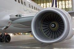 Straalmotor bij vliegtuigen Stock Foto's