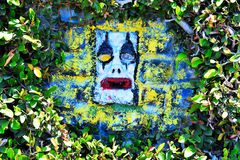 Straat Art Graffiti Crying Clown in 3D Stock Foto's