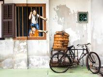 Straat Art Mural in Georgetown, Penang, Maleisië Stock Foto's