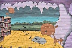 Straat Art Mural Ocean Library Stock Afbeeldingen