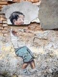 Straat Art Painting in Georgetown, Penang, Maleisië stock foto