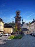 Straat in Banska Stiavnica, Unesco-stad stock foto's