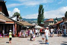 Straat in Bascarsija, Sarajevo Stock Foto's