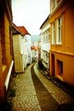 Straat in Bergen stock afbeeldingen