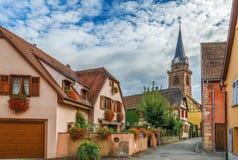 Straat in Bergheim, de Elzas, Frankrijk Royalty-vrije Stock Fotografie
