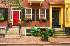Straat bij Beacon Hill-buurt, Boston Stock Foto