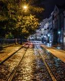 Straat bij nacht stock foto's