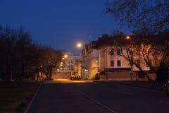 Straat bij nacht stock foto