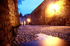Straat bij nacht Royalty-vrije Stock Afbeelding