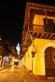 Straat bij nacht in Cartagena, Colombia Royalty-vrije Stock Afbeelding