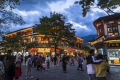 Straat bij nacht, Dali Old Town, Yunnan-provincie, China royalty-vrije stock foto's