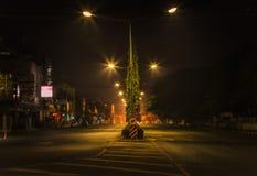 Straat bij nacht. Stock Foto
