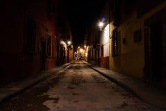 Straat bij nigh in San Miguel Stock Afbeeldingen