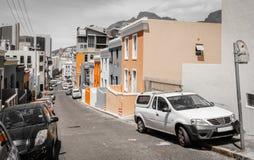 Straat in BO-Kaap in Cape Town stock foto's
