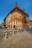 Straat in Bologna, Italië Stock Foto