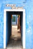 Straat in Burano, Venetië Royalty-vrije Stock Afbeelding