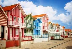 Straat in Costa Nova, Aveiro, Portugal royalty-vrije stock afbeeldingen