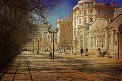 Straat in de lente in Saratov Royalty-vrije Stock Foto
