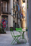 Straat in de Oude Stad, Gotisch Kwart, Barcelona, Spanje Royalty-vrije Stock Afbeeldingen