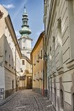 Straat in de Oude Stad van Bratislava Royalty-vrije Stock Afbeeldingen