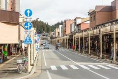 Straat in de oude stad van Takayama Stock Afbeelding