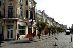 Straat in de stad Braila, Roemenië Royalty-vrije Stock Afbeeldingen