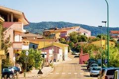 Straat in de stad Carbonia Iglesias Sardinige van weggiba royalty-vrije stock afbeeldingen