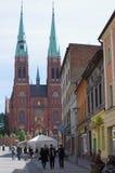 Straat in de stad Rybnik van Europen van het oosten Stock Foto