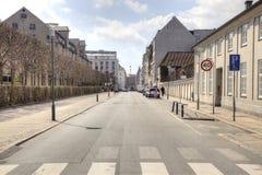 Straat in de stad van Kopenhagen Stock Afbeeldingen