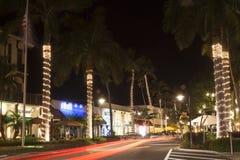 Straat in de stad van Napels bij nacht Florida, de V Royalty-vrije Stock Foto's