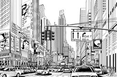 Straat in de stad van New York vector illustratie