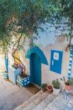 Straat de stad in van Zefat (Safed), Noord-Israël stock fotografie