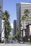 Straat de Van de binnenstad van Honolulu stock afbeelding