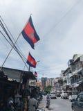 Straat door Russische Markt, Tuol Tampoung, Phnom Penh, Kambodja stock foto