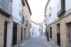 Straat in dorp van La Mancha Stock Foto's