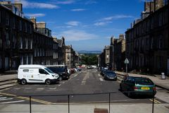 Straat in Edinburgh, Schotland, het UK royalty-vrije stock afbeeldingen