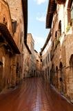 Straat in een oude stad in Ttuscany Royalty-vrije Stock Foto