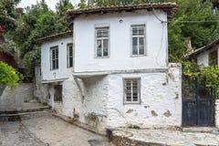 Straat en oude huizen in oude stad van Xanthi, Oost-Macedonië en Thrace, Griekenland stock foto's