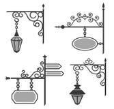 Straat gesmede lantaarns en tekens Royalty-vrije Illustratie