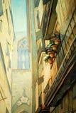 Straat in gotisch kwart in Barcelona stock illustratie
