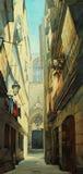 Straat in gotisch kwart in Barcelona, het schilderen Stock Afbeeldingen