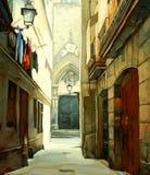 Straat in Gotisch kwart van Barcelona vector illustratie