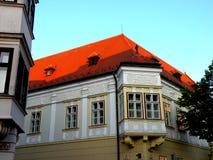 Straat in GyÅ ` r, Hongarije royalty-vrije stock afbeeldingen