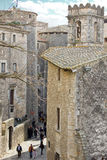 Straat in het historische centrum van Girona Royalty-vrije Stock Fotografie