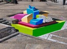 Straat het schilderen in 3D Royalty-vrije Stock Afbeeldingen